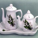 Lily of the Valley Teapot Salt & Pepper Set - Fielder Keepsakes