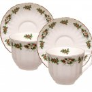 Holly Wreath Teacups & Saucers Set-Heirloom Bone China-Set of 2