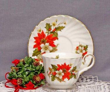 Poinsettia & Pine Teacups & Saucers Set-Heirloom Bone China-Set of 2