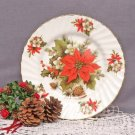 Poinsettia & Pine Plates-Heirloom Bone China-Set of 2