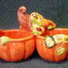 Harvest Earthenware Fall Condiment Server-Cornucopia & Pumpkins