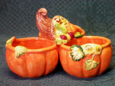 Harvest Earthenware Fall Condiment Server-Cornucopia & Pumpkins