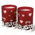 International Silver Red Glass Heart Votives, Set of 2
