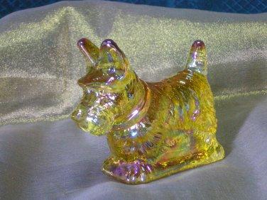 Mosser Honey Carnival Glass Scottie Dog