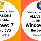 Windows 7, Vista 32 Bit & 64 Bit Recovery Reinstall Boot Restore DVD Disc Disk