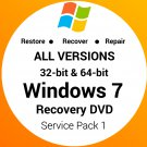 Windows 7 All Editions 32 & 64 Bit Recovery Reinstall Boot Restore DVD Disk