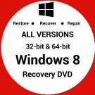 Windows 8 32 & 64 Bit Recovery Reinstall Boot Restore DVD Disc Disk