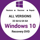 Windows 10 All Versions 32 & 64 Bit Recovery Reinstall Boot Restore DVD Disk