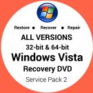 Windows Vista Ultimate 32 & 64 Bit Recovery Reinstall Boot Restore DVD Disc Disk