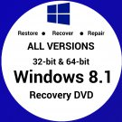 Windows 8.1 All Versions 32 & 64Bit Recovery Reinstall Boot Restore DVD Disk