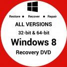Windows 8 32 & 64 Bit Recovery Install Reinstall Boot Restore DVD Disc Disk