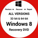 Windows 8 Pro Media Ctr 32 & 64 Bit Recovery Reinstall Boot Restore DVD Disk