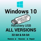 Windows 10 All Versions 32 & 64 Bit Recovery Reinstall Boot Restore USB Stick