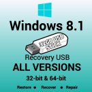 Windows 8.1 All Versions 32 & 64 Bit Recovery Reinstall Boot Restore USB Stick