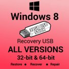 Windows 8 All Versions 32 & 64 Bit Recovery Install Reinstall Restore USB Stick