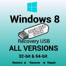 Windows 8 Pro Media Ctr 32 & 64 Bit Recovery Install Reinstall Restore USB Stick