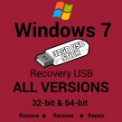 Windows 7 Home Premium 32 & 64 Bit Recovery Reinstall Boot Restore USB Stick