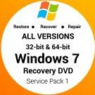 Windows 7 Enterprise 64 Bit Recovery Reinstall Boot Restore DVD Disc Disk