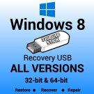 Windows 8 Pro N 64 Bit Recovery Install Reinstall Boot Restore USB Stick
