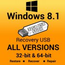 Windows 8.1 Professional 64 Bit Recovery Reinstall Boot Restore USB Stick