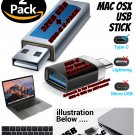 USB C to USB A Adapter & USB Stick 2pk with Sierra 10.12 for New Macs