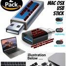 USB C to USB A Adapter & USB Stick 2pk with El Capitan 10.11 for New Macs