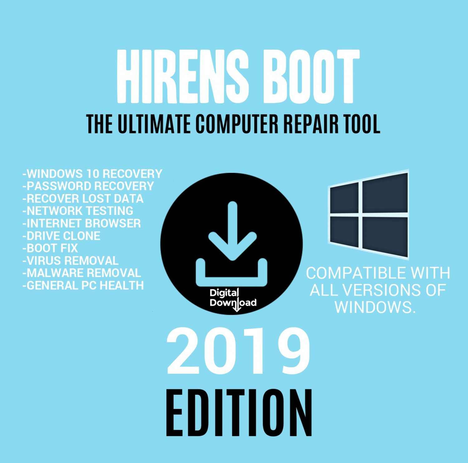 Hiren's BOOT CD DVD Hirens BootCD 2019 Utility Toolkit Disk