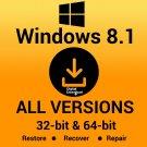 Windows 8.1  Pro  32 64 Bit Reinstall Download Link & Media Creator Tool