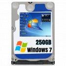 250GB 2.5 Hard Drive For Gateway NV5207U Windows 7 Pro 64bit Fully Loaded