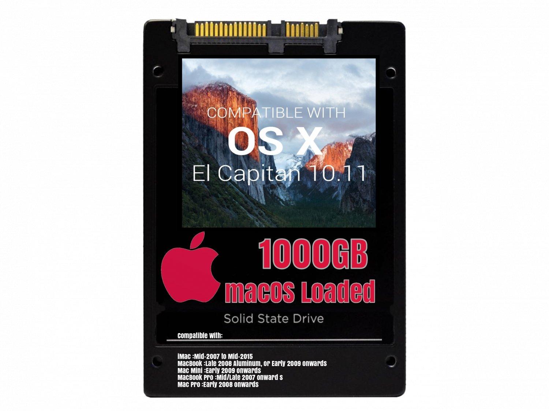 macOS Mac OS X 10.11 El Capitan Preloaded on 1000GB Solid State Drive