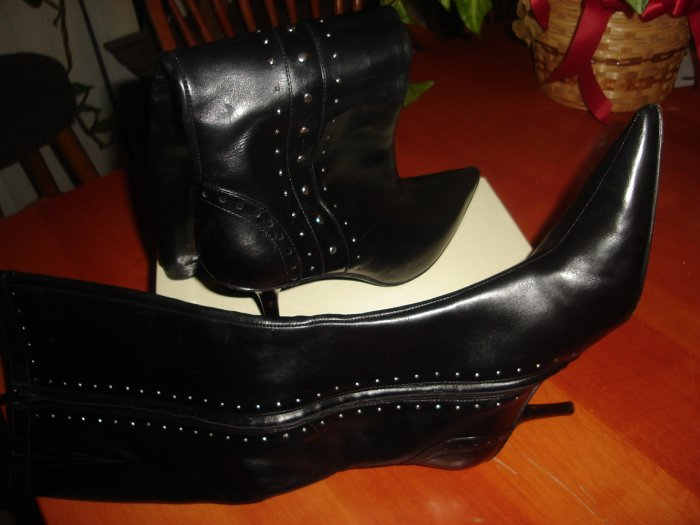 Michael Kors Black Leather Studded Boots