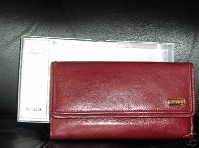 AUTHENTIC  FOSSIL LEATHER FLAP CLUTCH Checkbook Wallet
