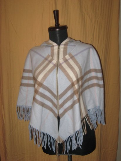 NWT 100% Auth. Burberry Hooded Poncho Retails $525