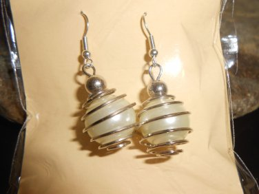 Four Colors Faux Silver and Wire Wrapped Glass Pearl Earring