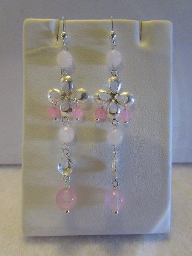 Sterling Silver Dangle Earrings with Rose Quartz