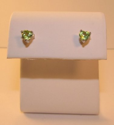 Genuine 1 Ct Peridot Sterling Silver w/ Platinum Stud Earrings Heart Cut