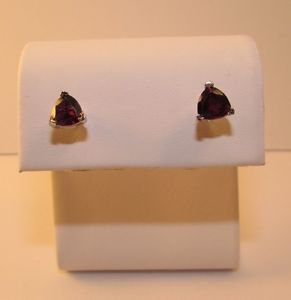 1.2 Ct Garnet Sterling Silver w/ Platinum Stud Earrings Trillion Cut
