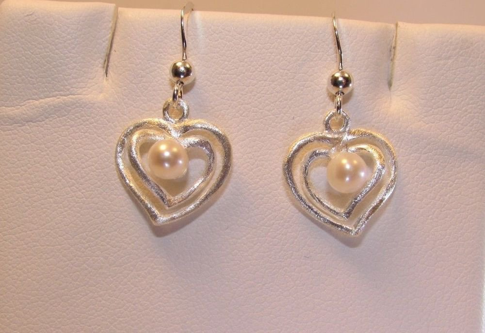 Fresh Water Pearl Frosted Sterling Silver Heart Dangle Earrings