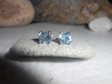 2 CT Blue Topaz 92.5 Sterling Silver W/ PLATINUM Stud Earrings