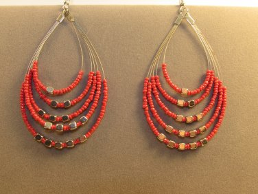 Handmade Indonesian Seed Bead Teardrop Drop Dangle Earrings Adorned w/Faux Silver 5 colors