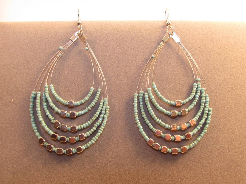 Handmade Indonesian Seed Bead Teardrop Drop Dangle Earrings Adorned w/Faux Silver Sky Blue