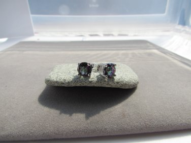 2 Ctw Round Mystic Topaz Sterling Silver Stud Earrings