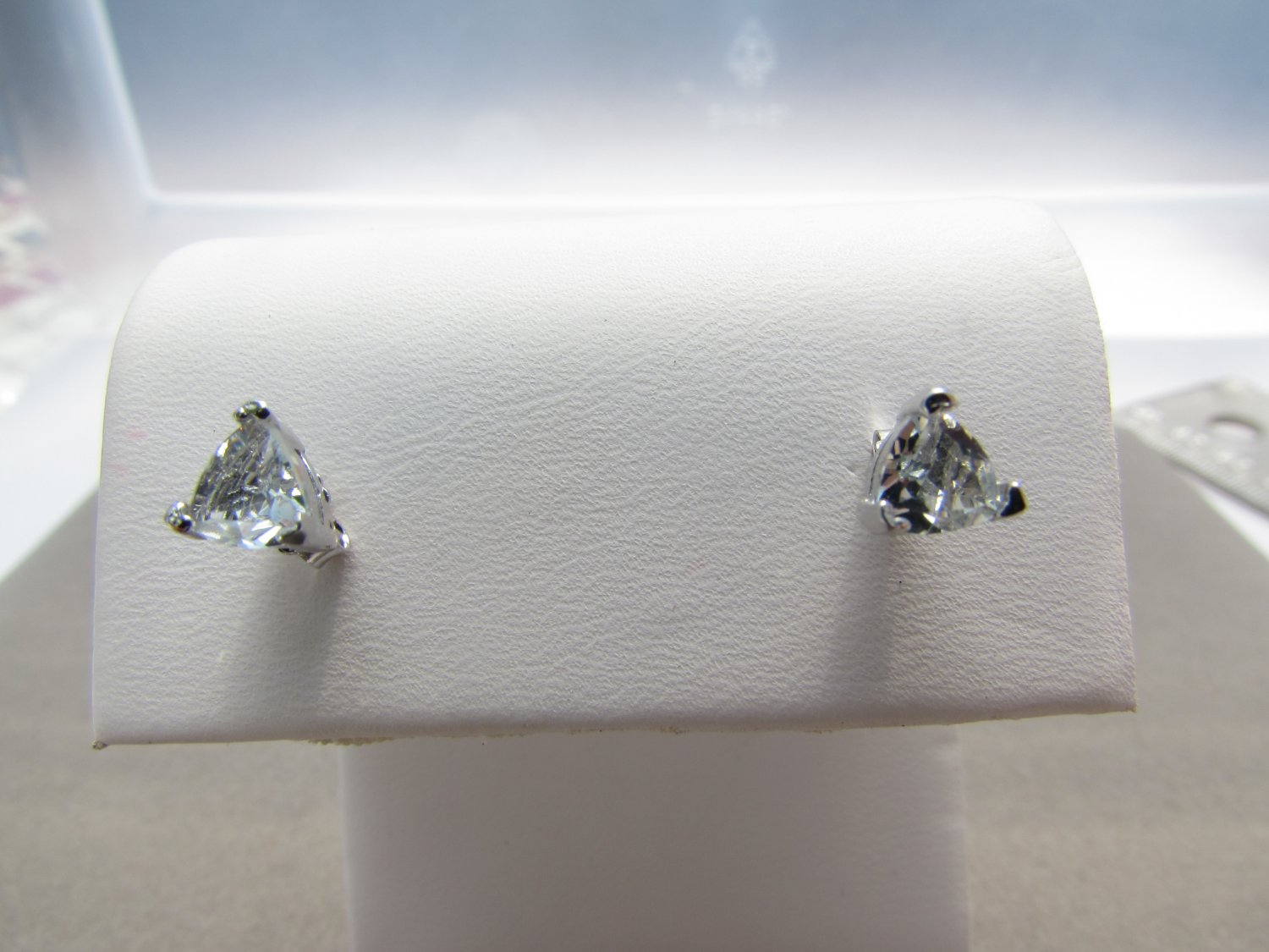 0.82 ct Natural Blue Trillion Aquamarine 925 Sterling Silver Stud Earrings