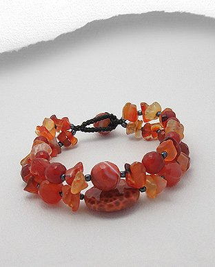 Agate, Carnelian and seed bead bracelet cuff, bangle