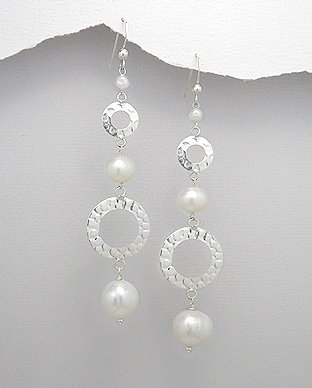 Fresh Water Pearl and Sterling Silver Eternity Circle Drop Dangle Earrings
