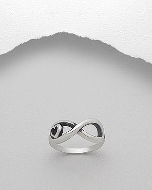 Infinity Heart Ring - .925 Sterling Silver - Sizes 7 8 NEW