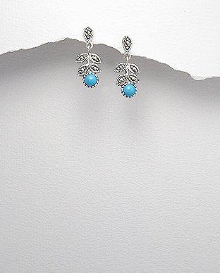 Sterling Silver, Marcasite, Turquoise, Leaf Dangle Hook Earrings