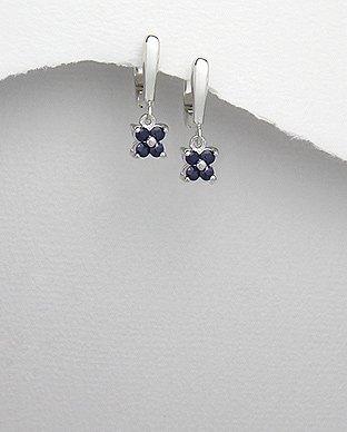 Genuine Blue Sapphire Flower Sterling Silver Earrings September birthstone