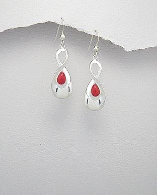 Sterling Silver Infinity Red Resin Dangle Hook Earrings