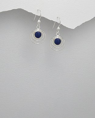 Sterling Silver Circle in Circle Lapis Lazuli Dangle Hook Earrings
